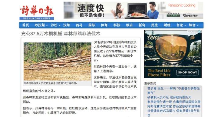 充公37.5万木桐机械 森林部缉非法伐木