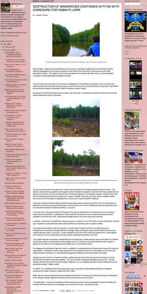 DESTRUCTION OF MANGROVES CONTINUES IN PITAS WITH DISREGARD FOR SABAH'S LAWS