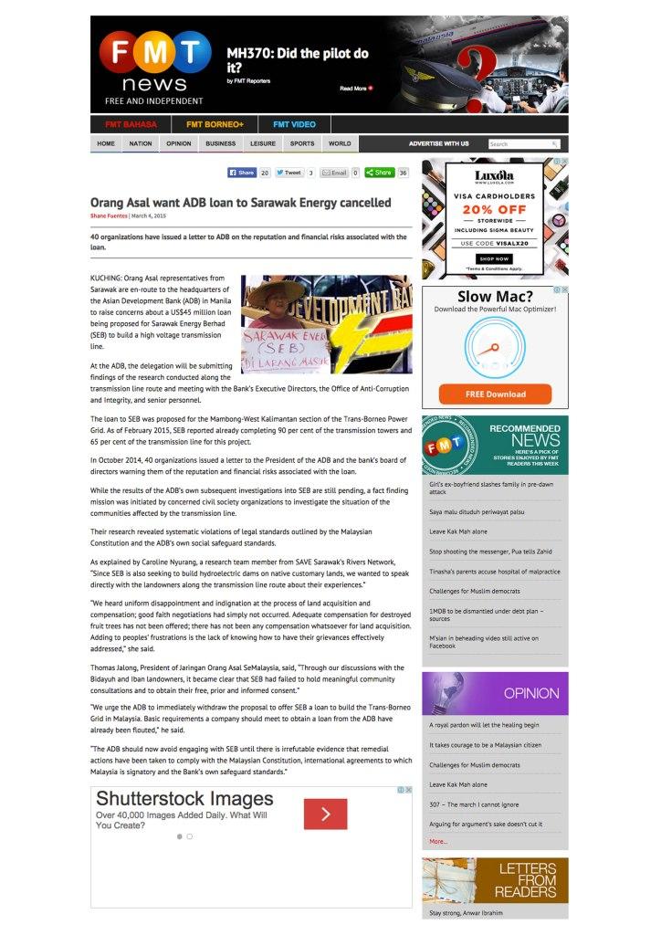 原住民要求亞洲開發銀行撤回對砂能源公司的貸款