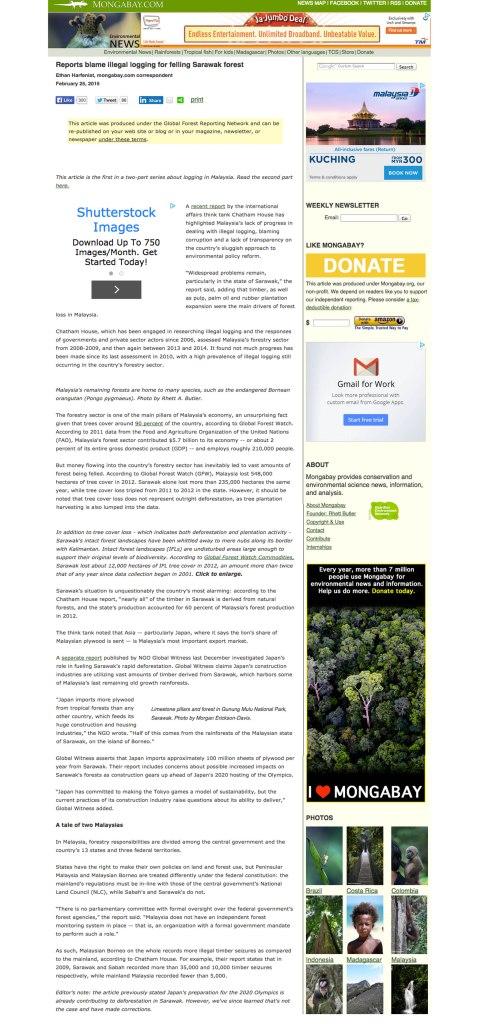 報告指責非法採伐砂拉越森林