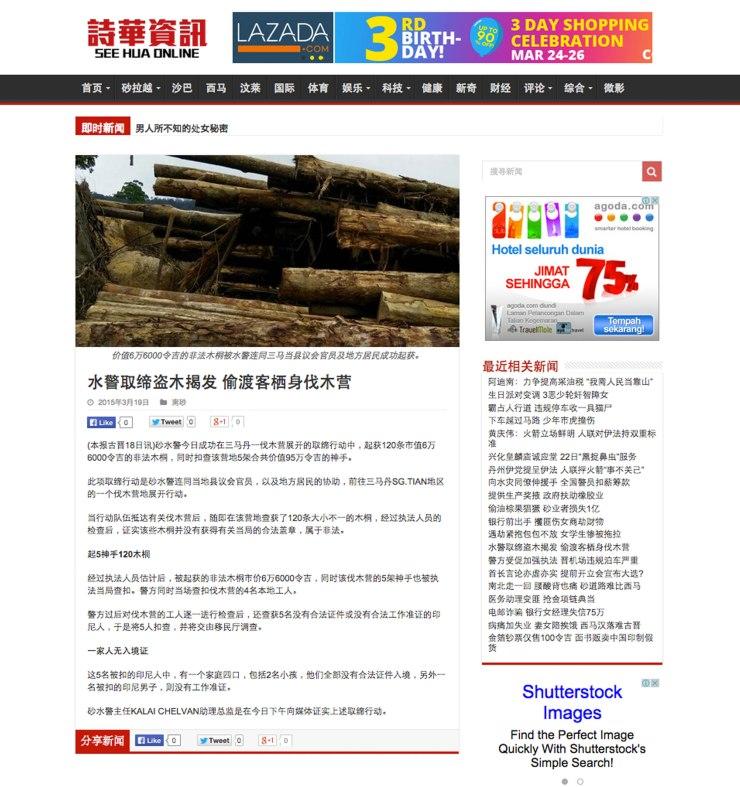 水警取締盜木揭發 偷渡客棲身伐木營