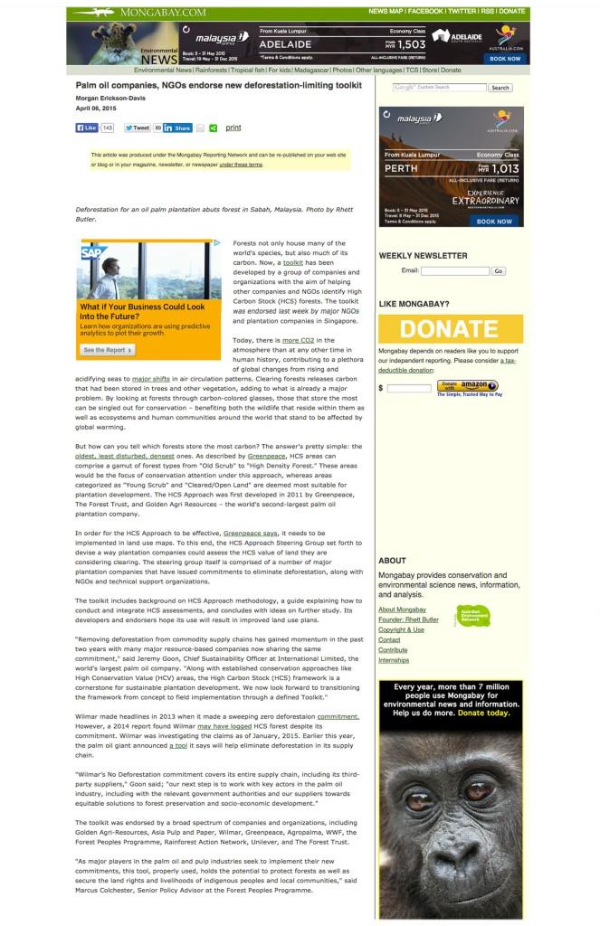 限制毀林新方法獲棕油公司及非政府組織的支持