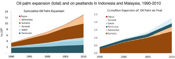 1990到2010年印度尼西亞和馬來西亞泥炭地上油棕的種植情況