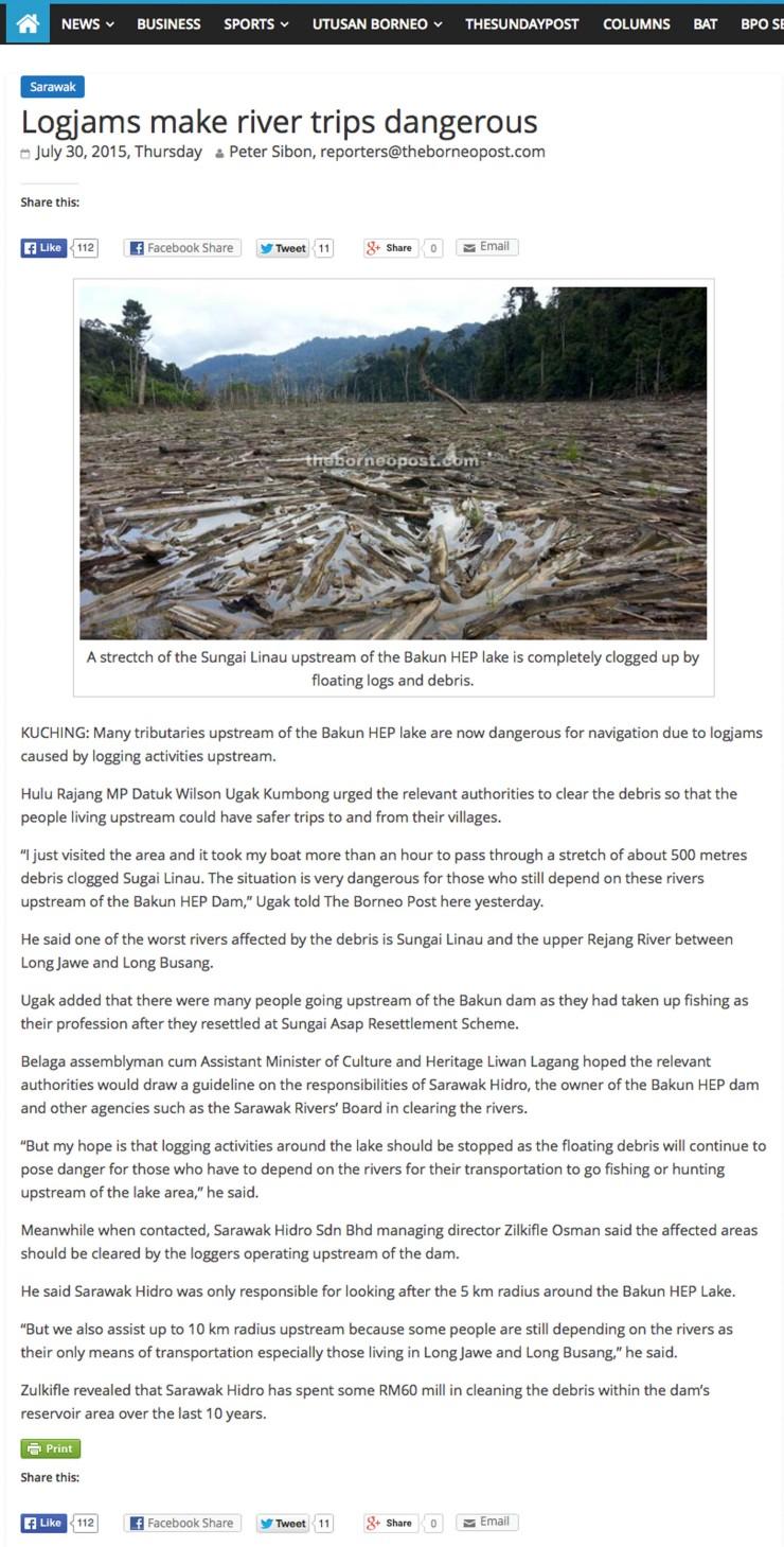 浮木堵塞對上游川行構成威脅