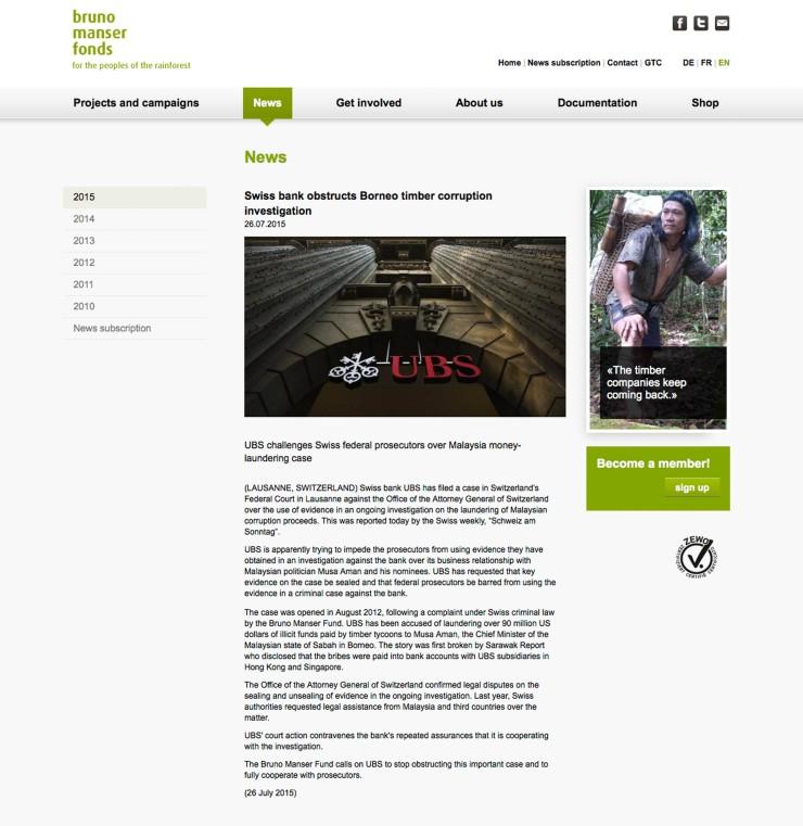瑞士銀行阻礙婆羅洲木材貪污案調查