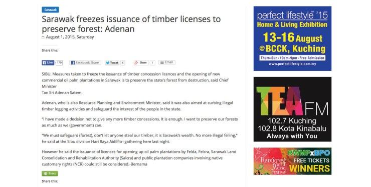 阿德南:保留森林 砂禁派發伐木執照