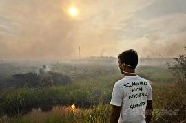 綠色和平的調查小組正身在印尼森林大火重災區,實地調查起火災對當地居民及動物棲息地的影響。 © Ulet Ifansasti / Greenpeace