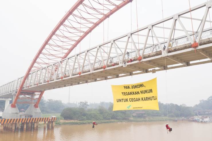 Banner at Kahayan Bridge in Central Kalimantan